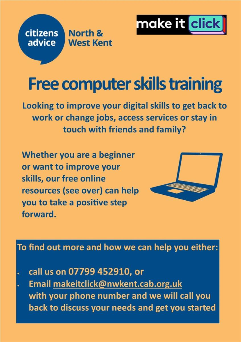 Free Computer Skills Training Poster